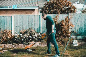 Man maintaining his yard